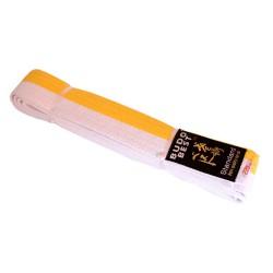 Centura bicoloră taekwondo alb-galben