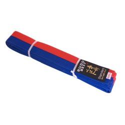 Centura bicoloră taekwondo albastru-roșu