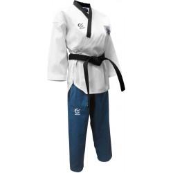 Dobok DAN - Feminin (bluza alba, pantalon albastru deschis)